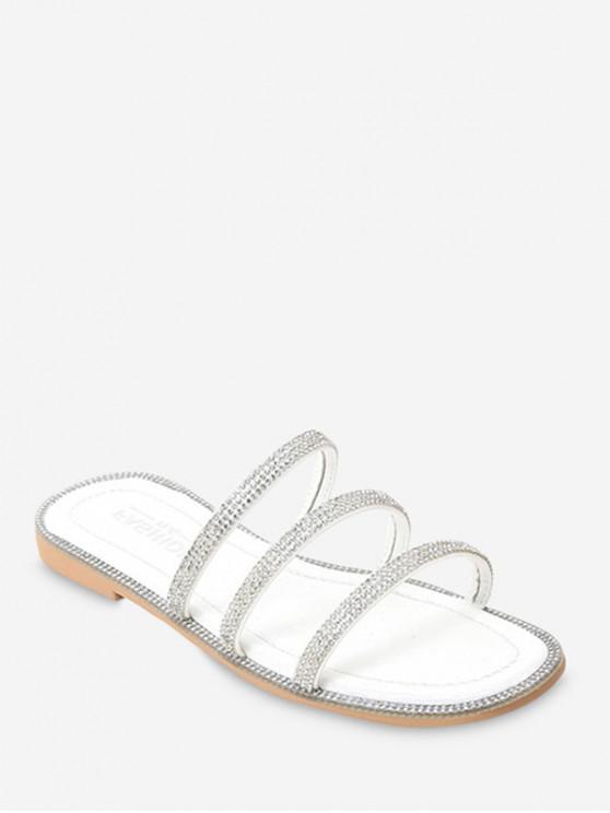 shop Rhinestone Strappy Flat Slides - WHITE EU 37