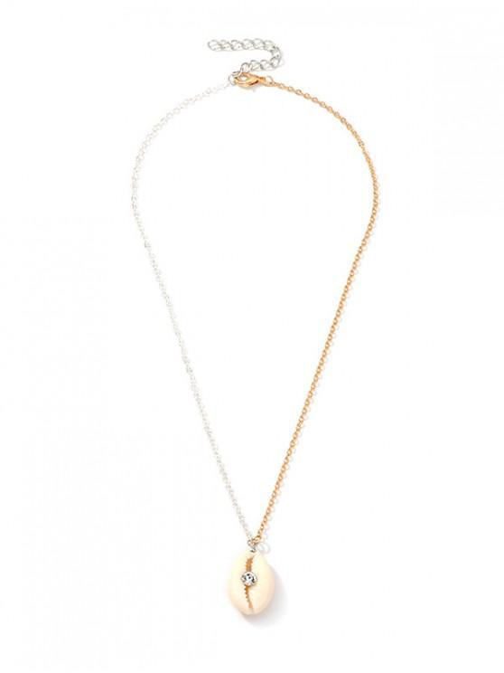 latest Rhinestone Two Tone Shell Chain Necklace - GOLD