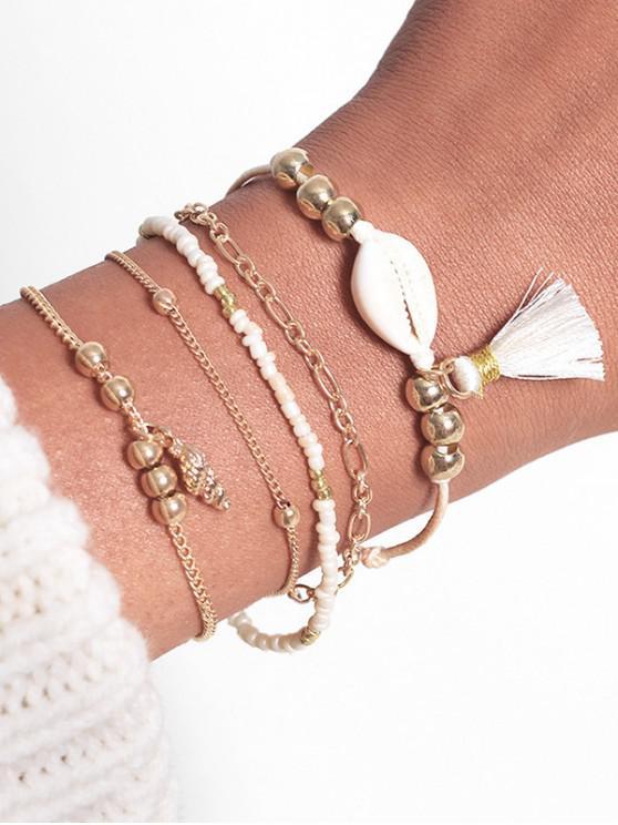 trendy Seashell Tassel Alloy Chain Bracelets Set - GOLD