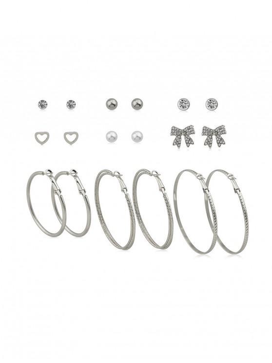 Aleación de diamantes de imitación corazón círculo Bowknot conjunto de pendientes - Plata