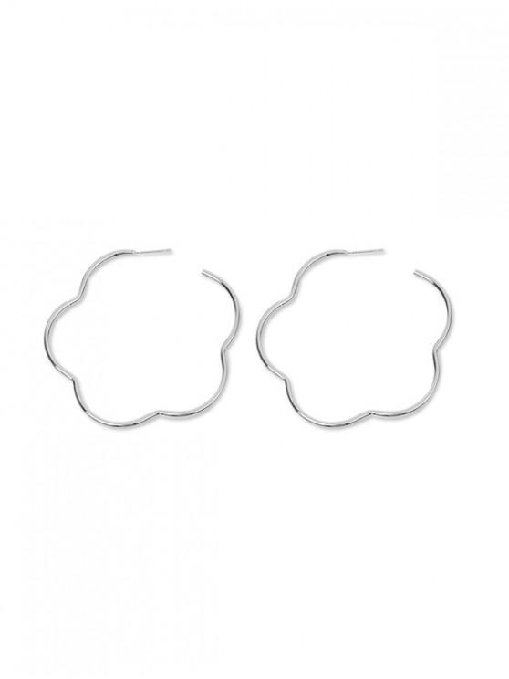 buy Alloy Simple Floral Hoop Earrings - SILVER