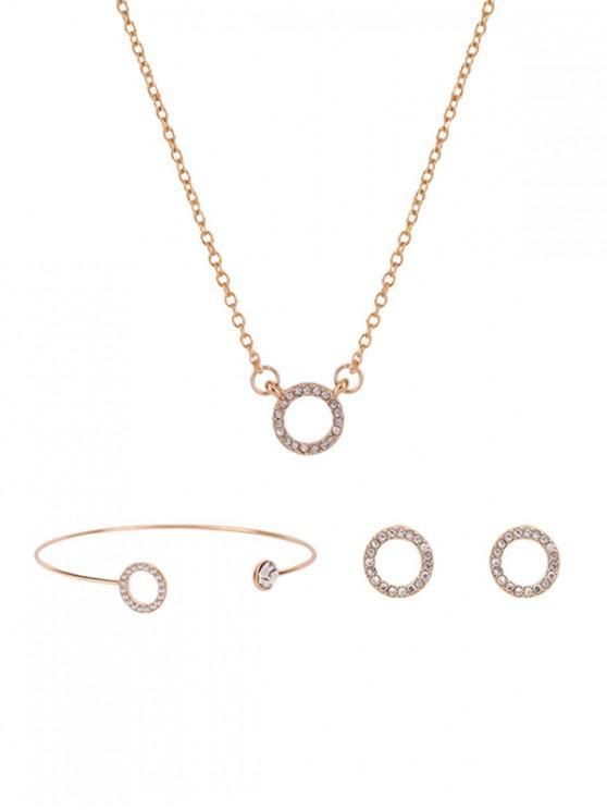womens Circle Rhinestone Necklace Bracelet Earrings Set - GOLD