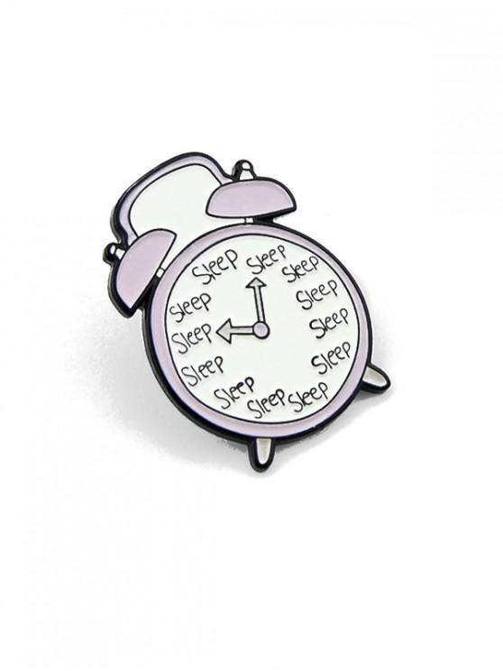 Reloj despertador de dibujos animados broche de aleación de esmalte - Blanco