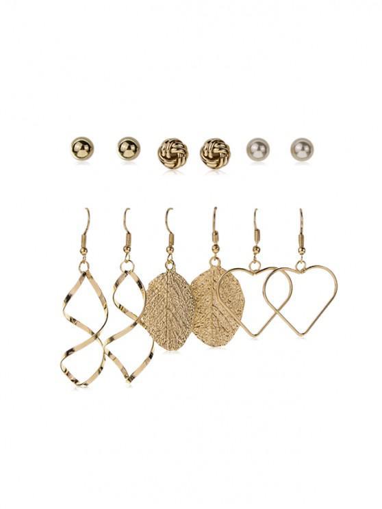 shop 6 Pairs Metal Heart Shape Earrings Set - GOLD
