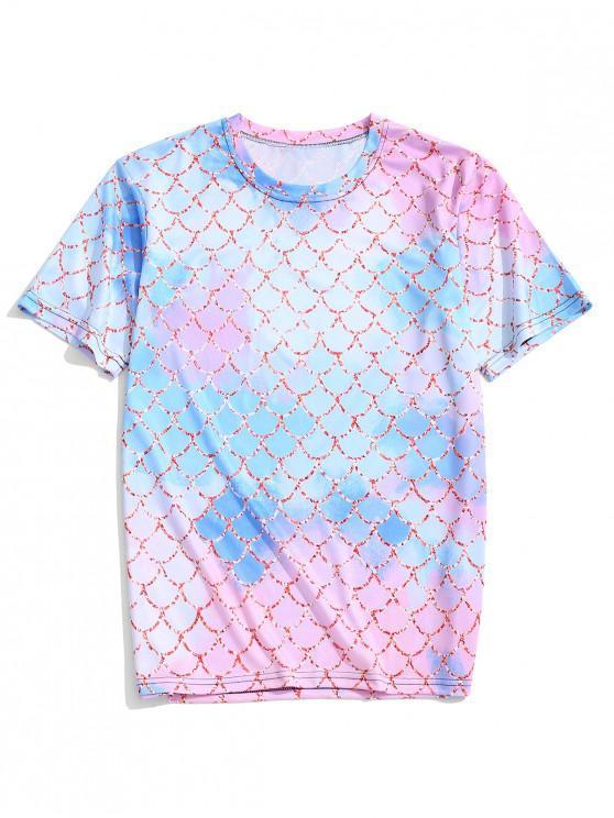 Camiseta de manga corta con estampado de escamas de colores y estampado de colores - Azul Lavanda XL