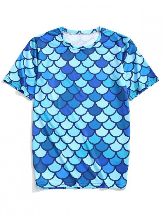 Camiseta de manga corta con estampado de escamas de pescado - Hiedra Azul L