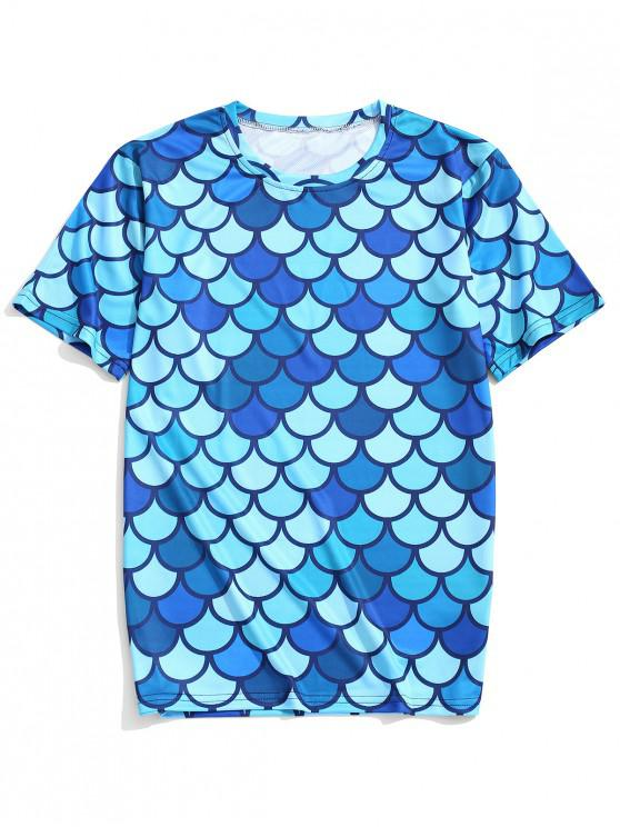 latest Fish Scales Printed Short Sleeves T-shirt - BLUE IVY 4XL
