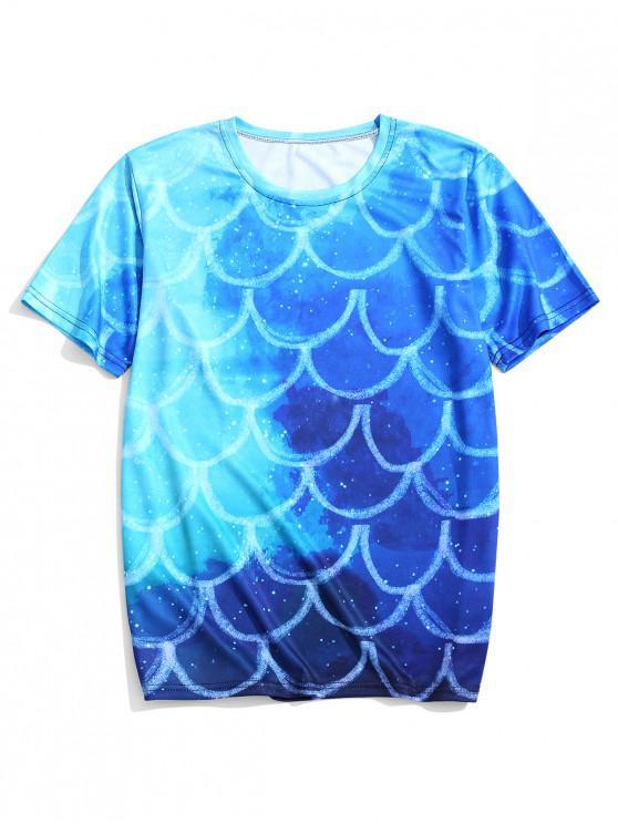 T-shirt Ecaille de Poisson Ombre Imprimée à Manches Courtes - Bleu Dodger 4XL