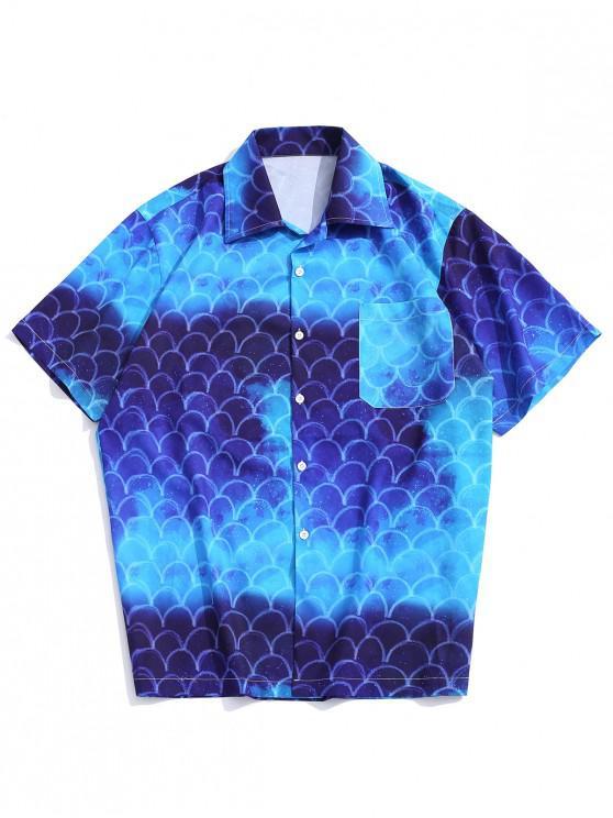 womens Galaxy Tie Dye Mermaid Scales Print Casual Button Shirt - BLUE XL