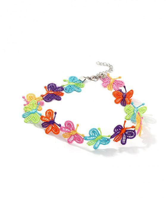 Gargantilla floral de encaje con corazón y gargantilla - Multicolor MARIPOSA
