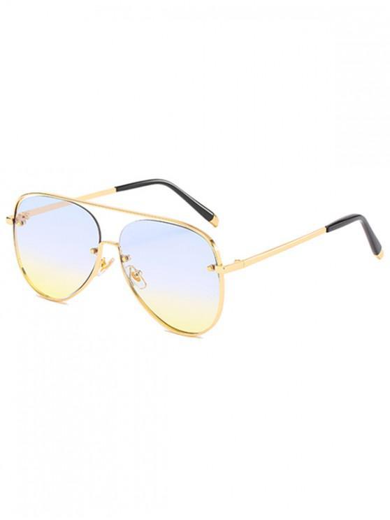 affordable Metal Driving Ombre Pilot Sunglasses - DENIM DARK BLUE