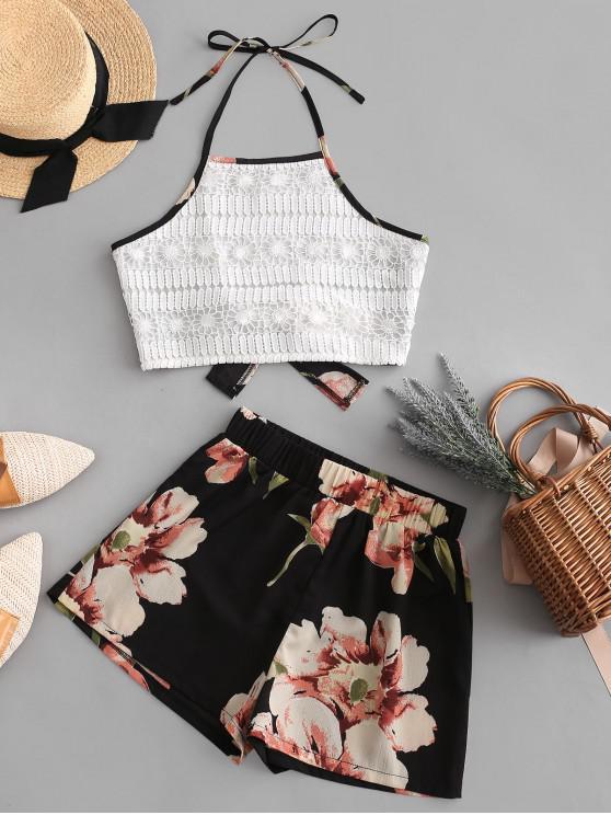 shop ZAFUL Elephant Floral Print Lace Panel Halter Shorts Set - MULTI M