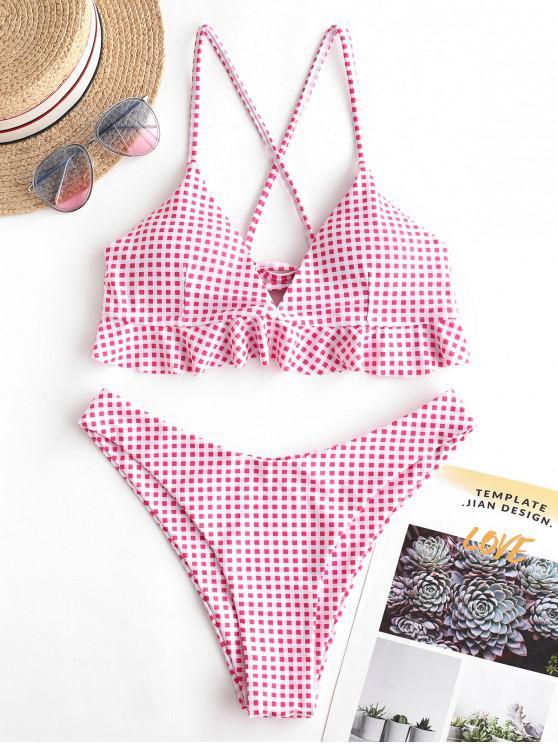 shop ZAFUL Plaid Ruffle Criss Cross Bikini Swimsuit - MULTI-A L