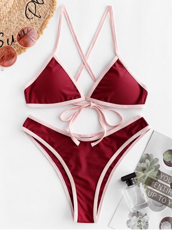 buy ZAFUL Contrast Trim Criss Cross High Leg Bikini Swimsuit - RED WINE S