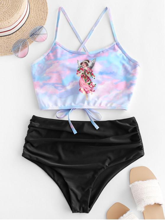 best ZAFUL Angel Print Lace Up Tummy Control Tankini Swimsuit - MULTI-A S
