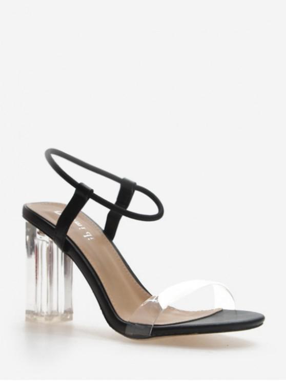 shop Thin Strap Clear Chunky Heel Sandals - BLACK EU 39