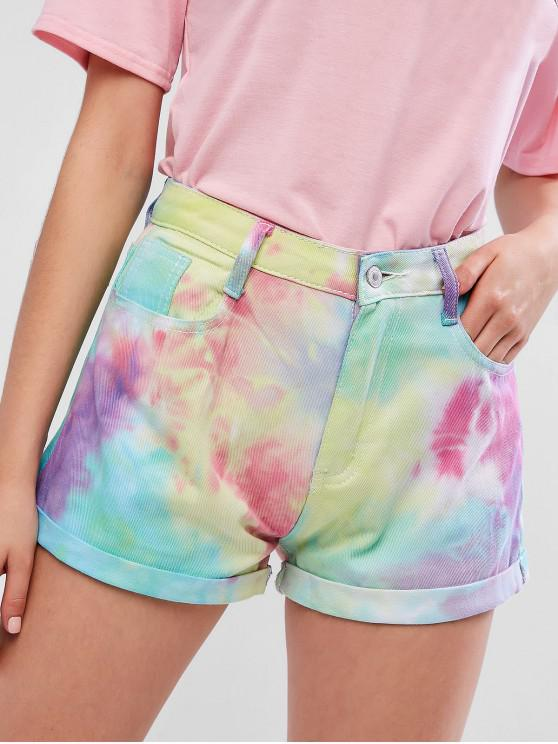 women's Tie Dye Rolled Hem Pocket Denim Shorts - MULTI L