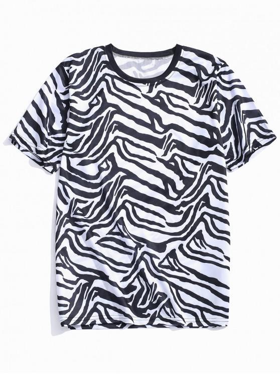 Camiseta casual con estampado gráfico geométrico irregular - Grafito Negro M