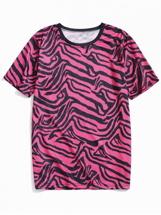 hot Irregular Geometric Graphic Print Casual T-shirt - ROSE RED 4XL