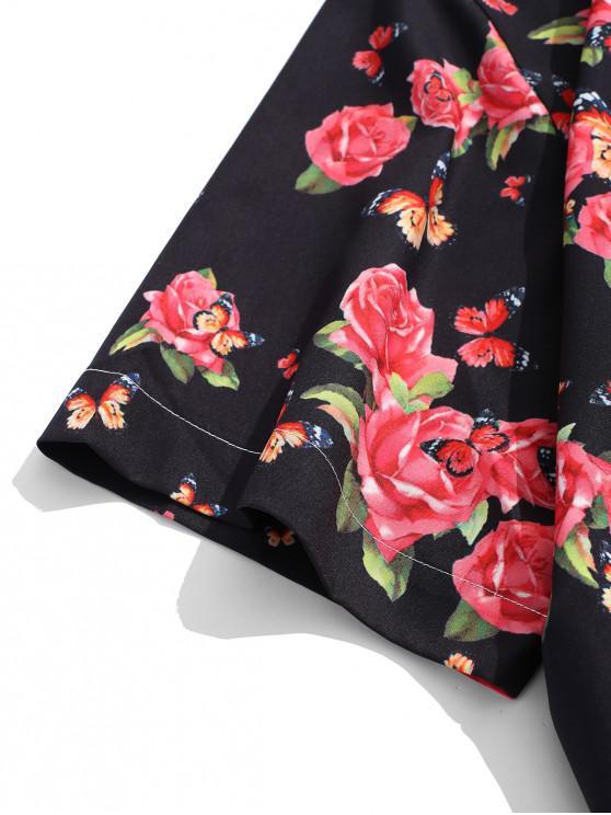 Fleur Manches Chemise CourtesNoir Et M Papillon À Imprimés nwPX8Ok0