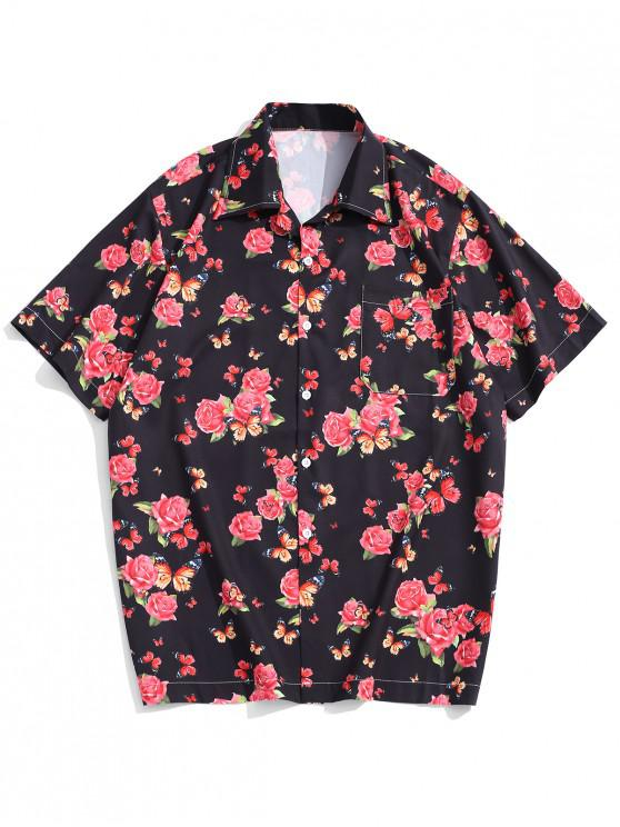 chic Butterfly Flower Print Short Sleeves Shirt - BLACK L