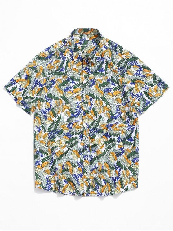 lady Allover Plant Leaf Print Casual Button Shirt - MULTI L