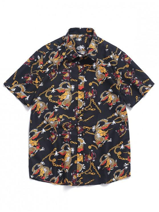 new Chained Dragon Print Short Sleeves Button Shirt - MULTI M
