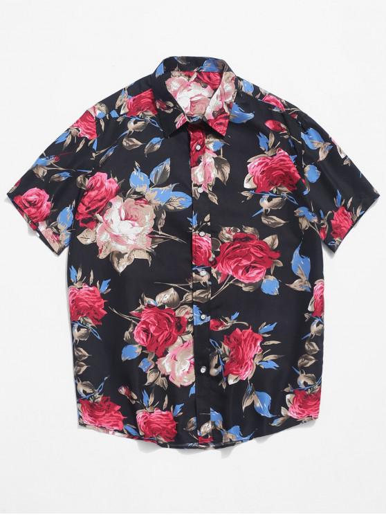 Camisa de playa de manga corta con estampado floral de flores - Multicolor L
