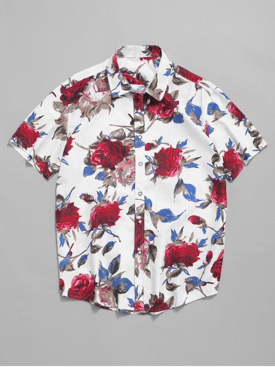 Camisa de playa de manga corta con estampado floral de flores - Multicolor-A L
