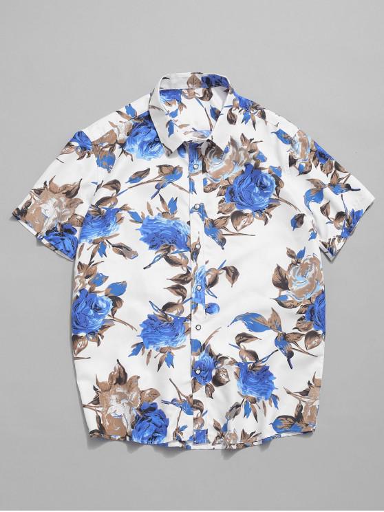 sale Short Sleeves Flowers Print Casual Beach Shirt - MULTI-B M