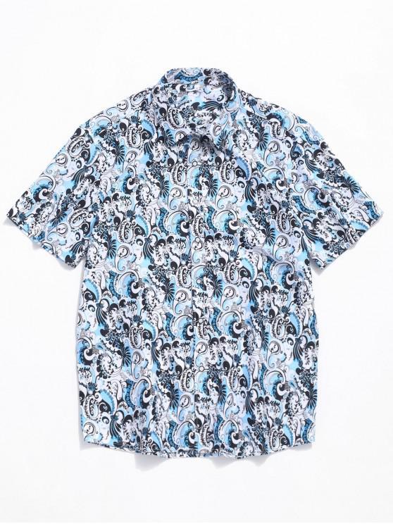 online Sea Waves Print Short Sleeves Button Shirt - MULTI L