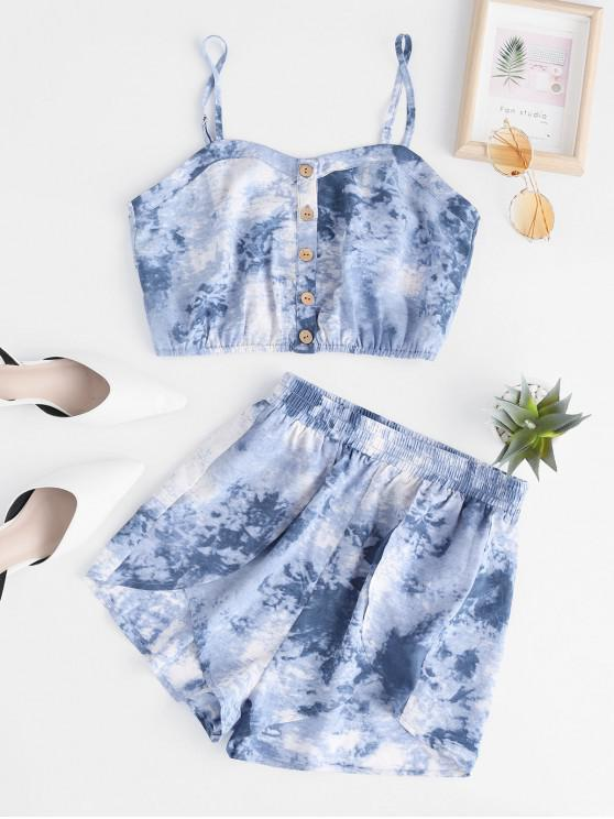 affordable ZAFUL Tie Dye Button Front Tulip Shorts Set - SLATE BLUE S