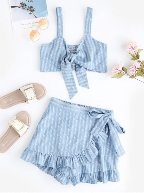 lady ZAFUL Smocked Striped Ruffle Shorts Set - DENIM BLUE S