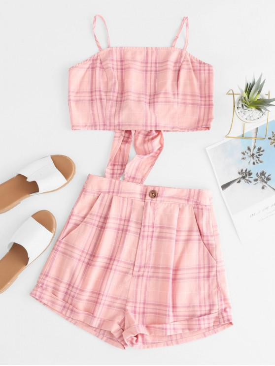 online ZAFUL Knotted Plaid Pocket Two Piece Shorts Set - ROSE L