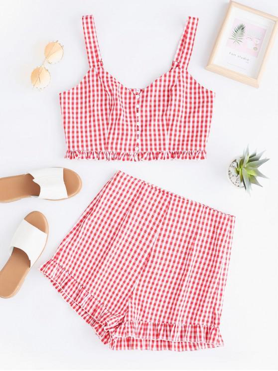shop ZAFUL Plaid Button Front Ruffle Shorts Set - RED M