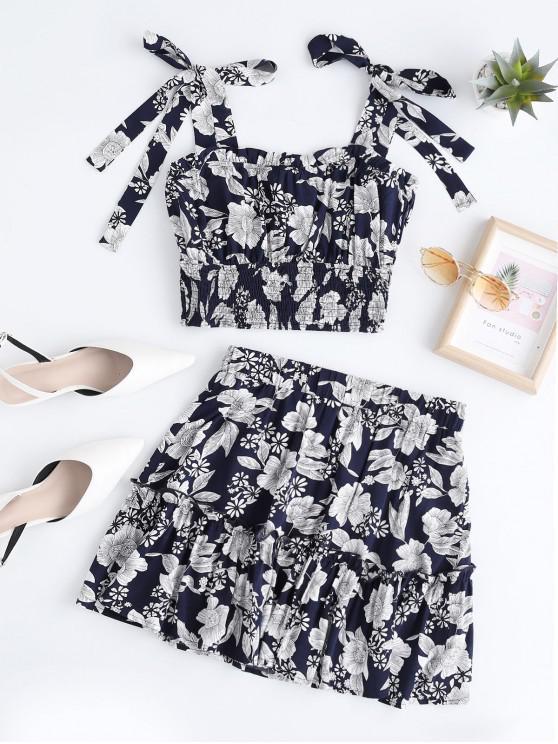trendy ZAFUL Flower Smocked Ruffle Skirt Set - MIDNIGHT BLUE S