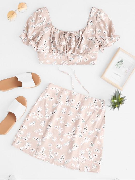 sale ZAFUL Flower Smocked Slit Mini Skirt Set - APRICOT L
