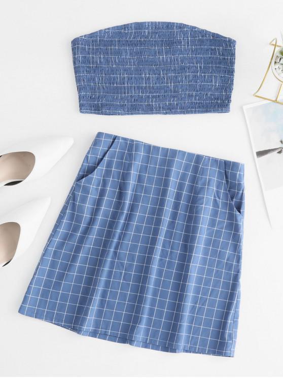 shops ZAFUL Plaid Smocked Pocket Skirt Set - SEA BLUE M