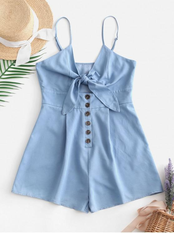 shops ZAFUL Bow Knot Cut Out Cami Romper - DENIM BLUE M