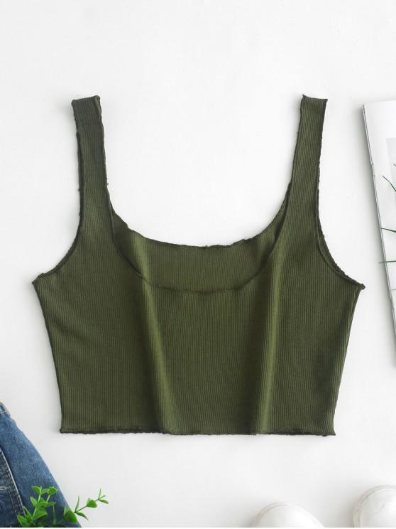 online Plain Ribbed Cropped Tank Top - GREEN S