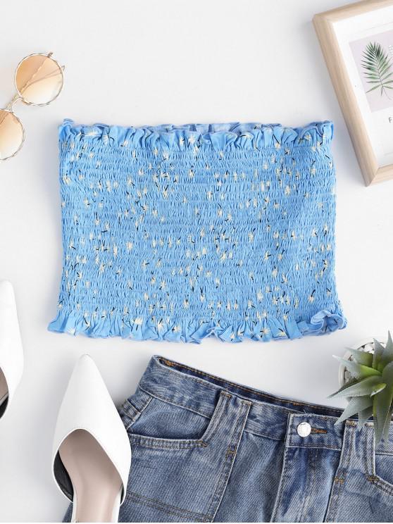 trendy ZAFUL Leaf Print Smocked Ruffle Tube Top - BLUE KOI L