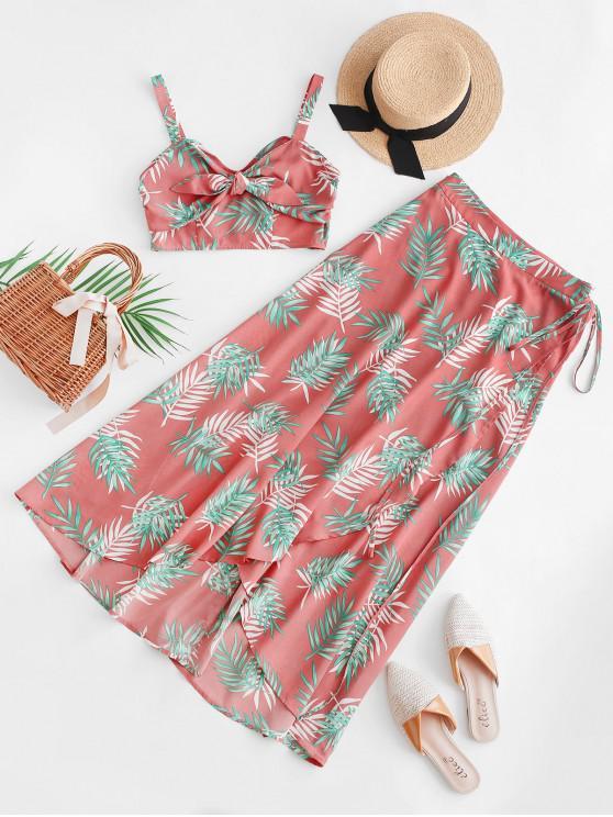 shop ZAFUL Tropical Print Crop Top And Wrap Maxi Skirt - ROSE M