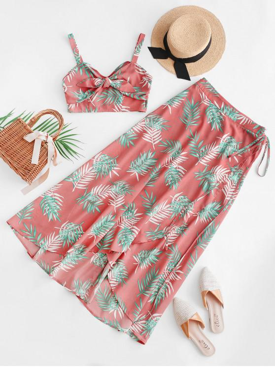 latest ZAFUL Tropical Print Crop Top And Wrap Maxi Skirt - ROSE L