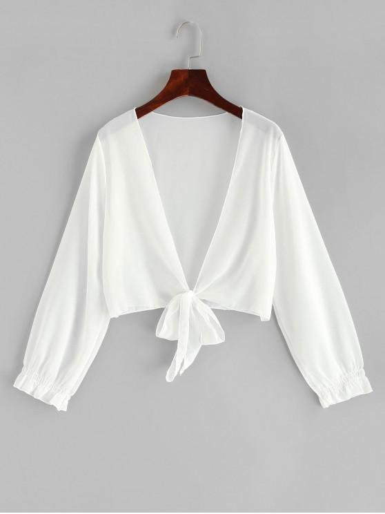 affordable Tie Cropped Sheer Cover-up - WHITE ONE SIZE