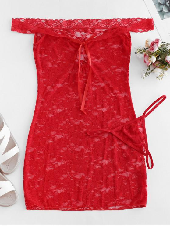 new Keyhole Off The Shoulder Lace Babydoll - LAVA RED S