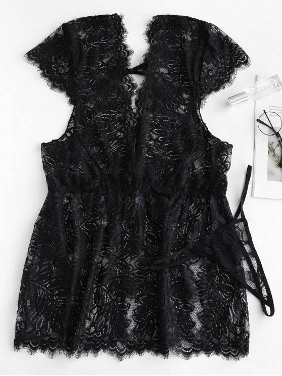 Tie Plunge Lace Babydoll con tanga - Negro L
