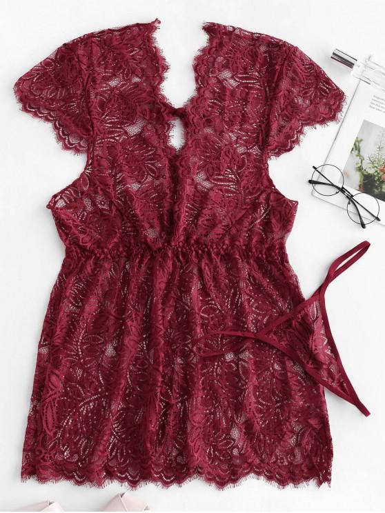 Tie Plunge Lace Babydoll con tanga - Ladrillo Refractario S