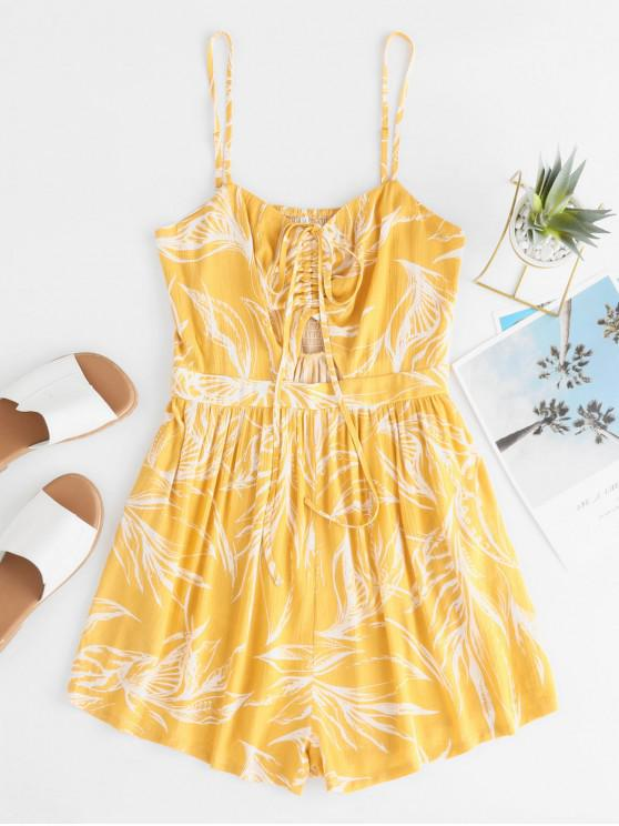 outfit ZAFUL Smocked Cinched Printed Pocket Cami Romper - MUSTARD S