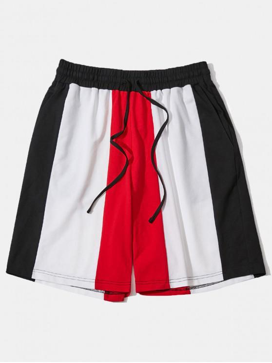 best ZAFUL Drawstring Color Block Pocket Shorts - MULTI L