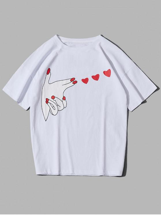 trendy Love Heart Gesture Print Graphic Drop Shoulder T-shirt - WHITE XS